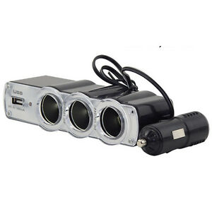 In Car 12v Triple Way Splitter Cigar Lighter Socket USB ...