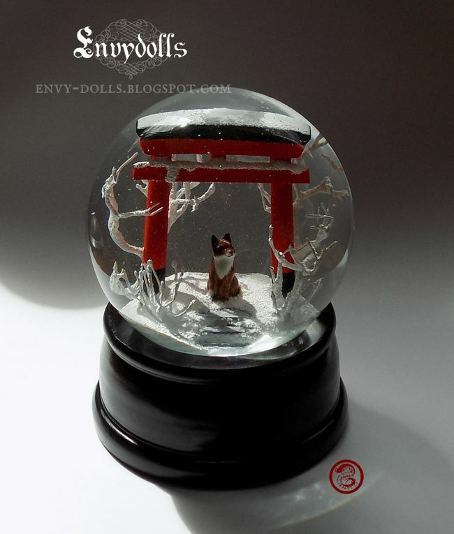 Handcrafted Japanese Shinto TORII GATE   KITSUNE fox beautiful glass Snowglobe