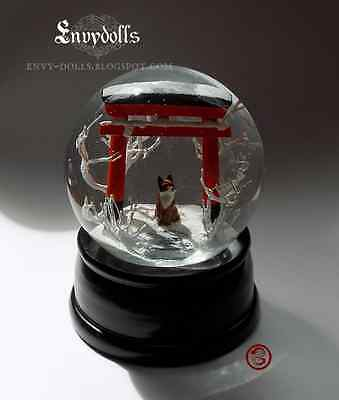 Dolls & Bears Contemplative Handcrafted Japanese Shinto Torii Gate Dolls Kitsune Fox Beautiful Glass Snowglobe