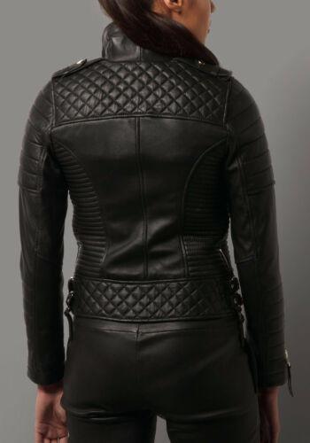 Women/'s Genuine Lambskin Leather Motorcycle Slim fit Designer Biker Jacket