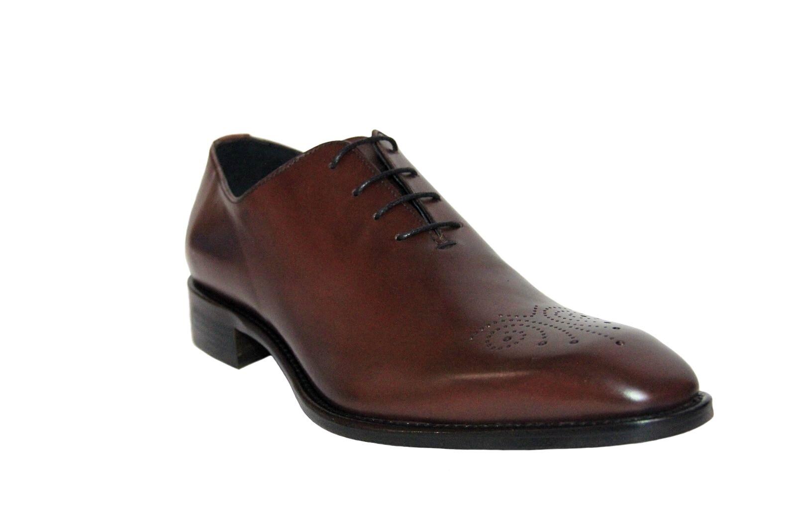 Calzoleria Toscana Men's Wholecut Oxford Burgundy Leather Dress shoes 4633