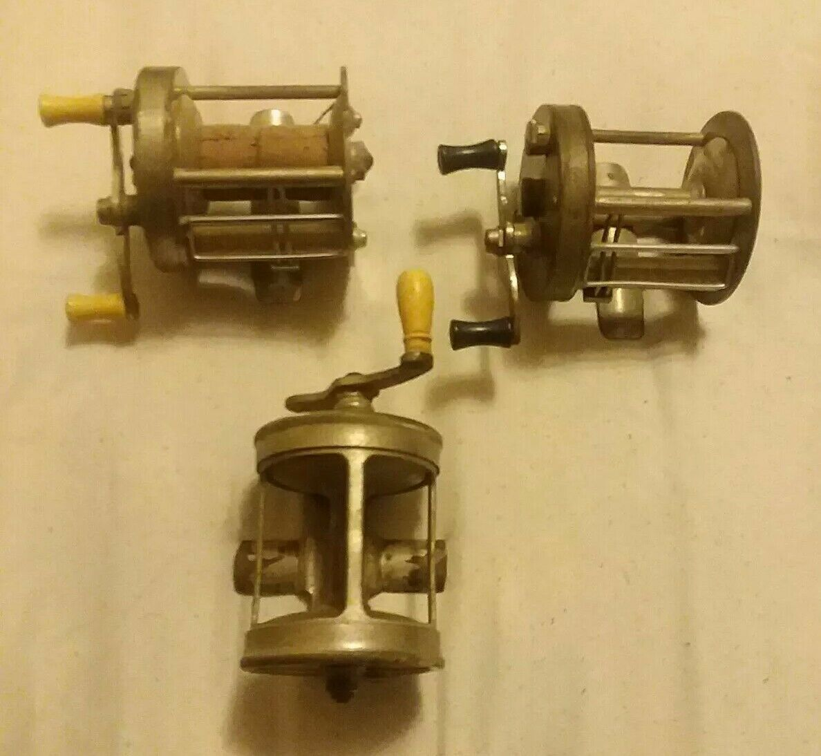 Vintage Lot of 3 Casting Reels Collectible  A.F Meisselbach takapart South Bend  fast shipping to you