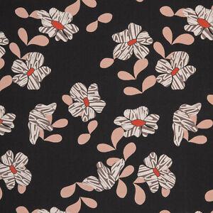 Blumen-Blaetter-French-Terry-Nature-by-Cherry-Picking-schwarz-Stoff-S183
