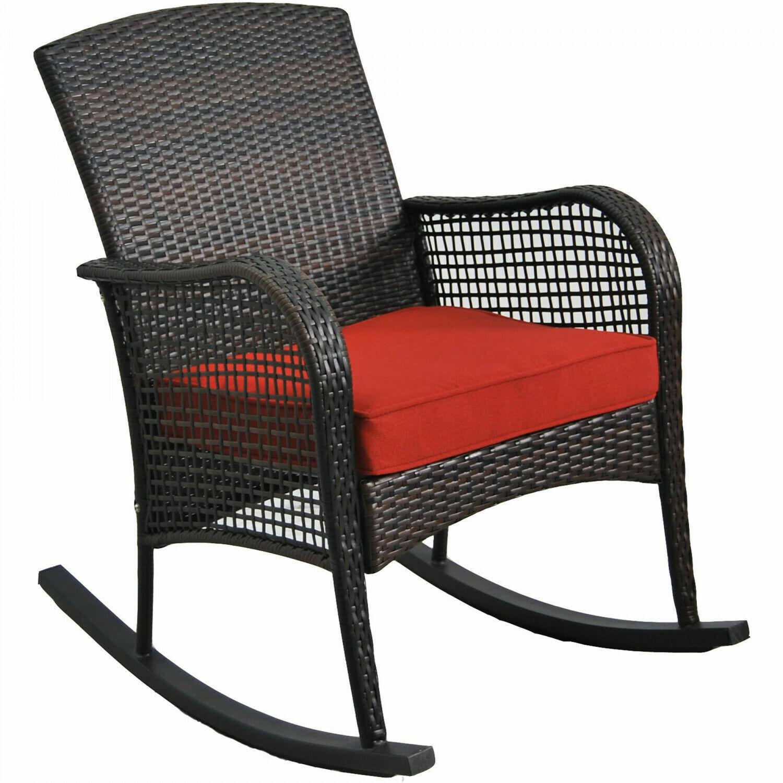 Dark Brown Wicker Rocking Chair Patio