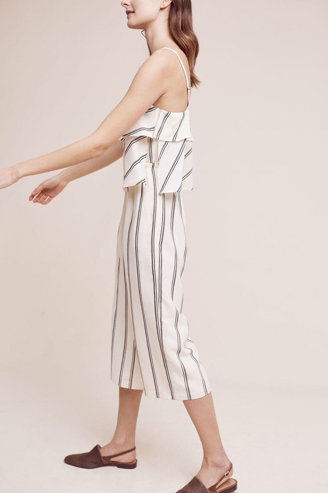 Anthropologie Kinley Stripe Jumpsuit By Elevenses Size Sz L Large