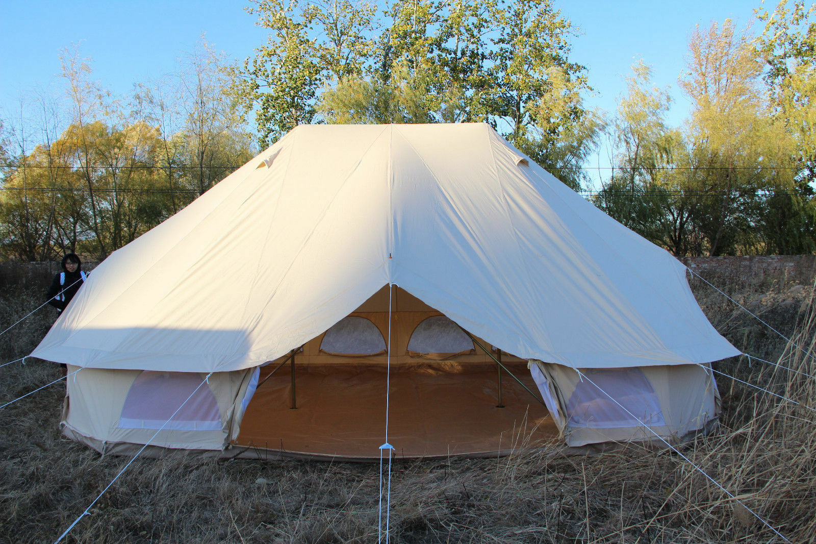 6 Metre Emperor Twin Cotton Canvas Bell Tent Waterproof Glamping Wall Tent Large