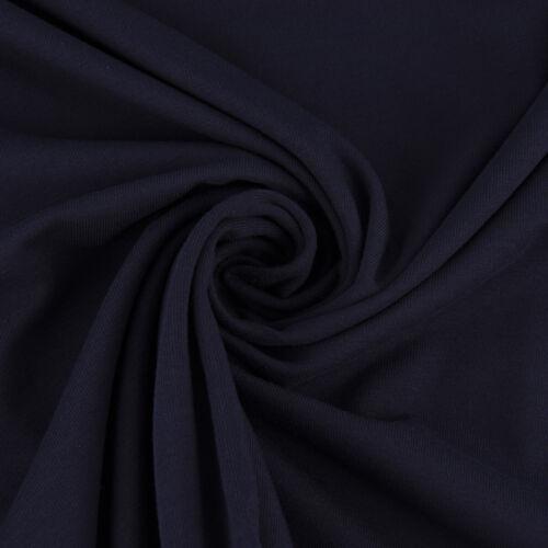 Baumwolljersey GOTS Bio Jersey einfarbig dunkelblau 1,5m Breite