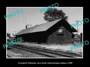 OLD-LARGE-HISTORIC-PHOTO-OF-CRAWFORD-NEBRASKA-THE-RAILROAD-DEPOT-STATION-c1960
