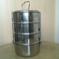 Stainless Steel Tiffin Billy Pot Camping 4-Tier 9x4