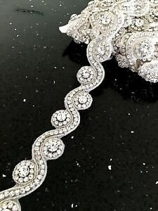 Rhinestone Bridal Diamond Crystal Dancing Motif Applique Wedding Dress Sash Belt