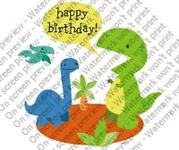 Happy Birthday Dinosaur Edible Cupcake Toppers Decoration Dino T-rex Boy Party