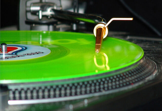Art Poster - Green Vinyl DJ Turntable  A3 Print