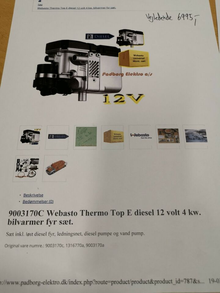 Bilvarmer, Webasto Thermo Top E Diesel 12 volt 4 kW
