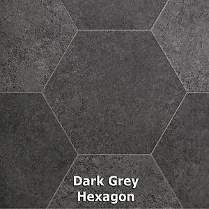 Grey Hexagon Modern Tile Style Vinyl Flooring Kitchen
