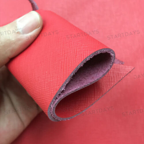 1.8mm Thick Cross Pattern Red saffiano Leather Hide Material Cowhide Craft Hobby