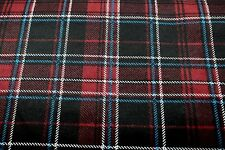 TARTAN PLAID BURGUNDY RED BLACK FLANNEL FABRIC 100% COTTON SEWING QUILTING BTY