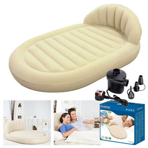 BESTWAY-ROYAL-ROUND-INFLATABLE-VINYL-AIR-BED-CAMPING-MATTRESS-FREE-ELECTRIC-PUMP