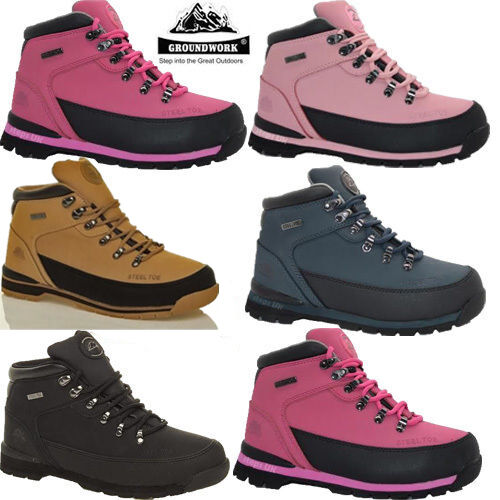 LADIES WOMENS GROUNDWORK STEEL TOE CAP LEATHER SAFETY TRAINERS WORK BOOTS SHOES