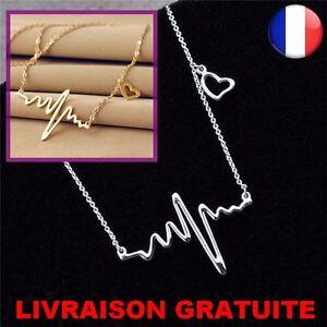 Femme-chaine-Collier-electrocardiogramme-palpitation-pendentif-Coeur-Bijoux-Neuf