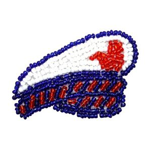 d985c22d95771 ID 9124 Ship Captain Hat Patch Ship Boat Sailing Cap Beaded Iron On ...