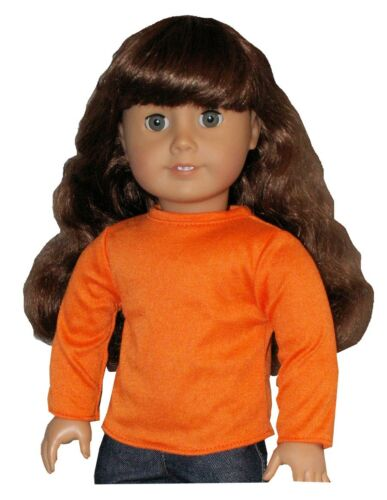 Red Black or Orange Long Sleeve Tee T-Shirt fits American Girl Size Doll