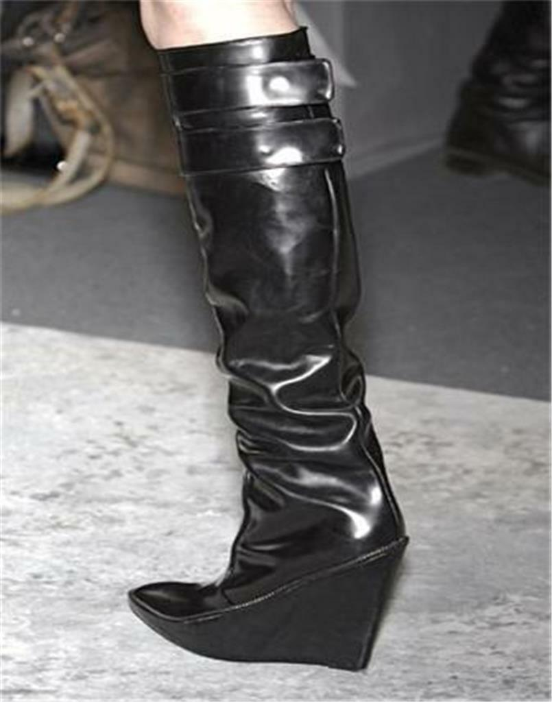 GIVENCHY Black Patent Leather Wedge Heel Knee High Tall Boots Boots Boots 40 EU 24a4cf