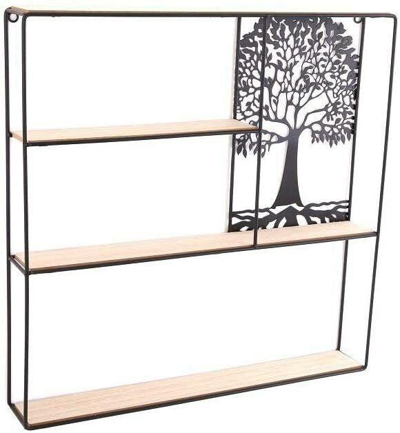 Square Shelf/Shelves/Shelving Unit - Tree of Life - Wood & Metal - 50cm x 50cm