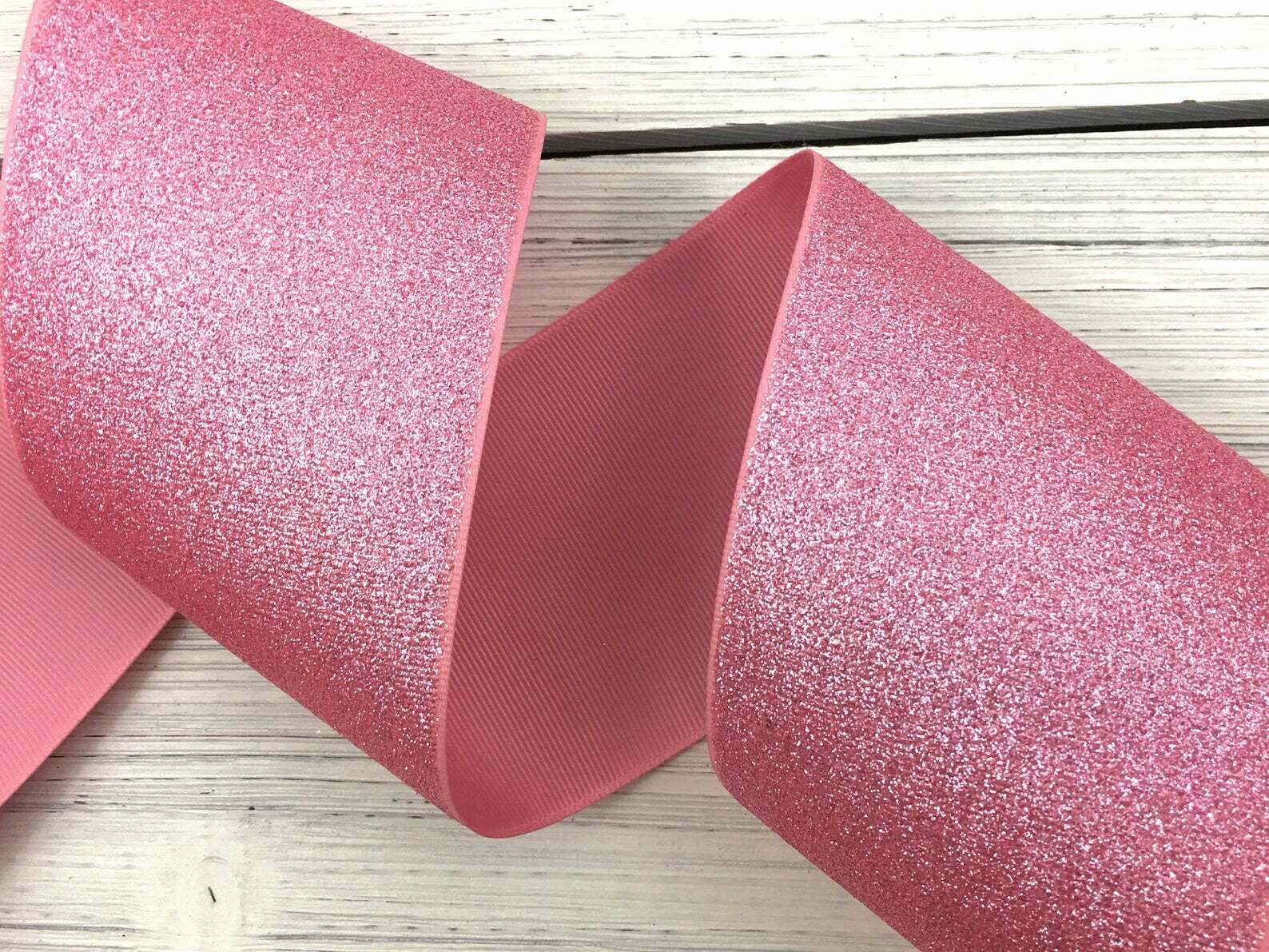 "3/"" Pink Glitter Solid Grosgrain Ribbon Cheer Bows Craft Supplies USA SELLER"