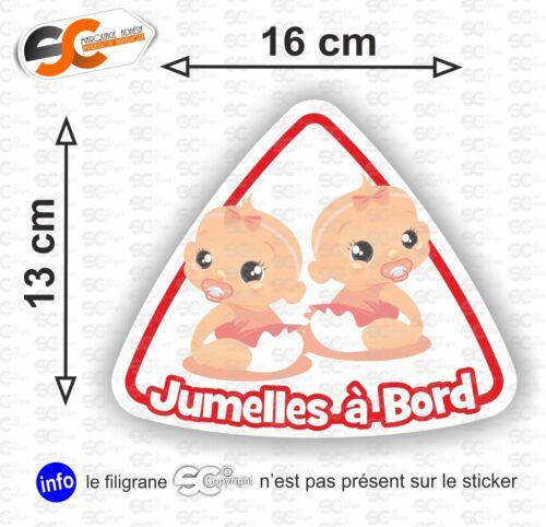 Modèle 3 Jumeaux à Bord Sticker Autocollant bébé à bord Fille // Fille