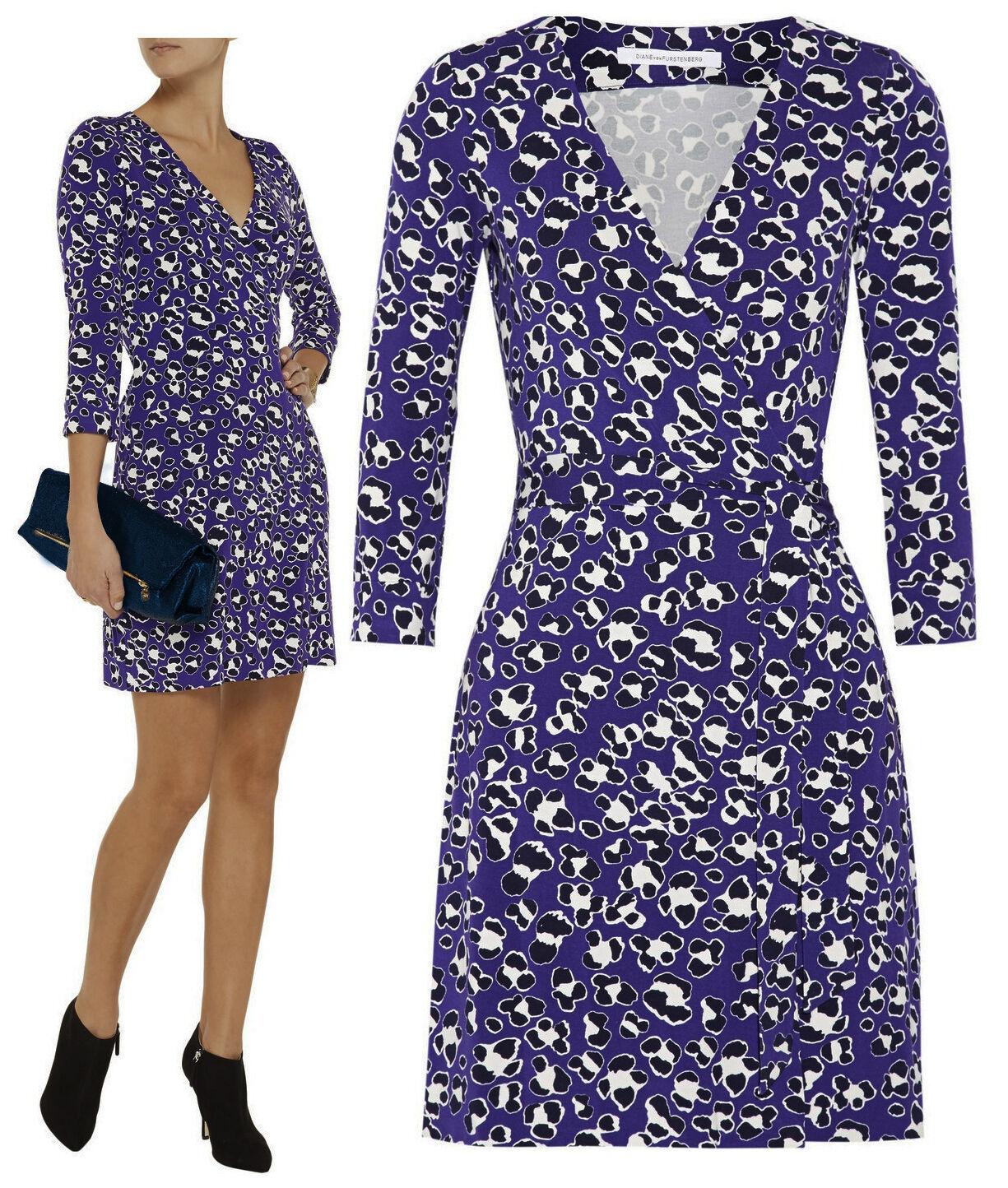 398 Diane Von Furstenberg Dvf Nuevo Julian 2 spotted  Floral Gato Morado wrap dress  venta al por mayor barato