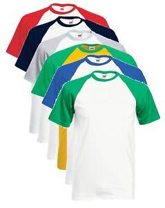 Mens-Short-Sleeve-Cotton-Contrast-Sleeve-Baseball-Tee-T-Shirt-Tshirt-No-Logo