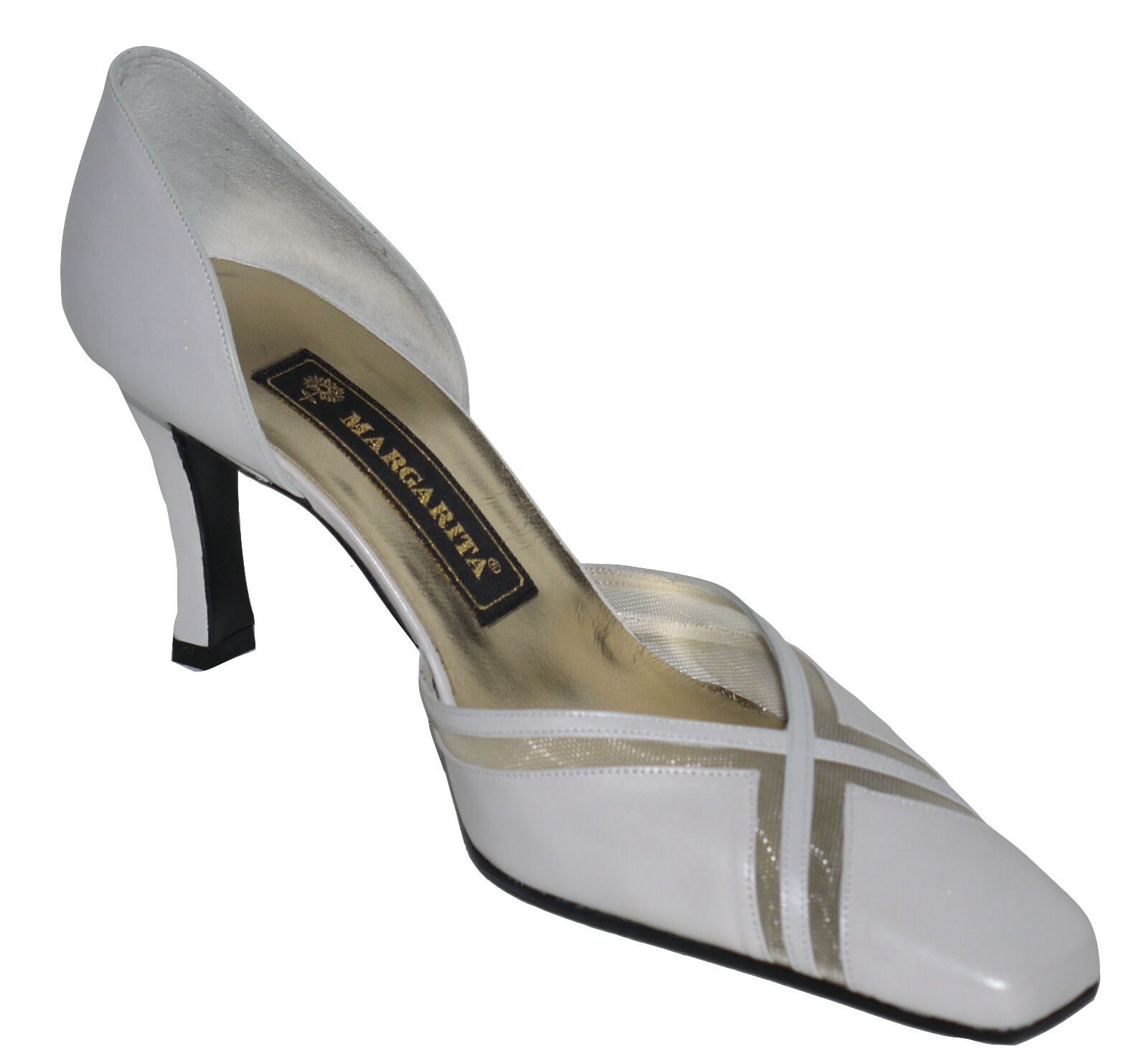 Margarita Pale gris Leather Slim Heel chaussures Various Tailles SP