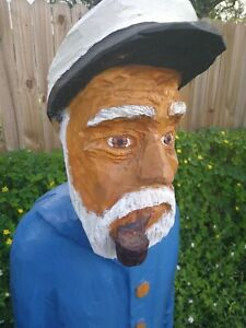 Hand-carved-sea-ship-captain-home-decor-sculpture-carving-113-4ft-tall-80lb