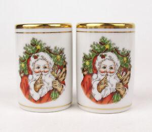 Salt-Pepper-Shaker-Set-Fitz-and-Floyd-St-Nicholas-Christmas-Japan