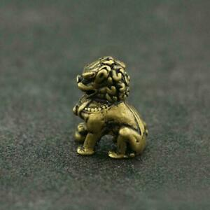 Antique-Brass-Lion-Statue-China-Zodiac-Pocket-Gift-Fengshui-Ornament-Good-Luck