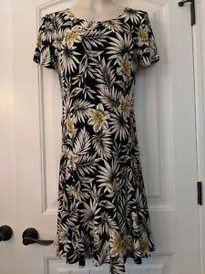 KAREN-KANE-NWT-98-Fresh-Squeeze-Black-White-Print-Ruffle-Stretch-Dress-Size-S