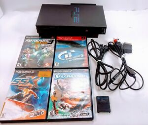 Sony-PlayStation-2-PS2-Fat-Console-Bundle-Memory-Card-4-Games-No-Controller