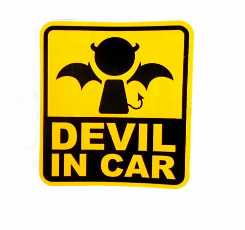 Aufkleber Sticker Spass DEVIL IN CAR Teufel an Bord 10x10 cm
