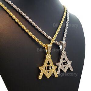 e9886c3e295b7 Hip Hop Iced Bust Down Masonic Freemason Pendant & 4mm 24