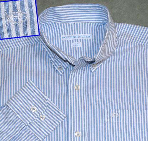 S SOUTHERN TIDE SKIP JACK BLUE WHITE STRIPED BUTTO