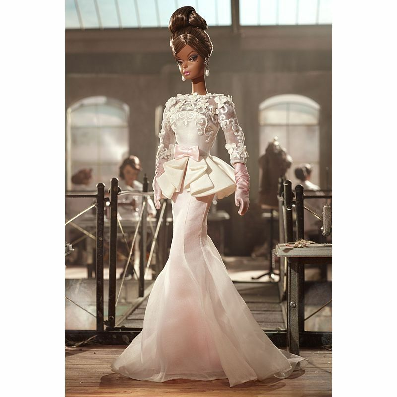 Vestido de noche Atelier de muñeca Barbie 2012 W3426 bfmc oro Label Silkstone en Caja Original