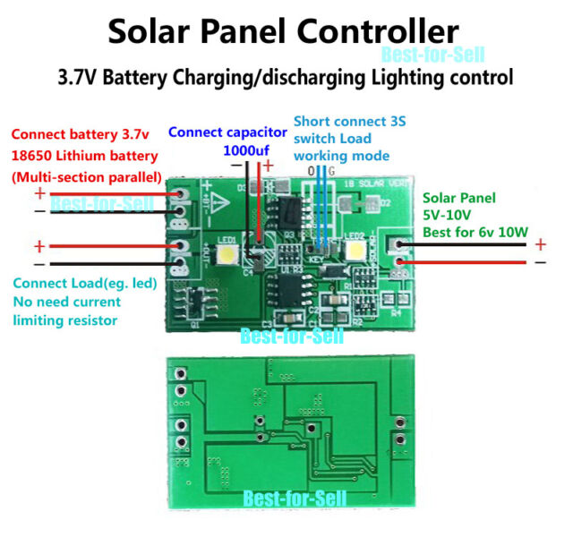 2a Solar Panel Controller 3.7v Lithium Battery Charge Discharge W ...