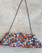 Aldo Baguette Clutch Bag Button Covered Purse Chain Handle Party Fun Purse Bag