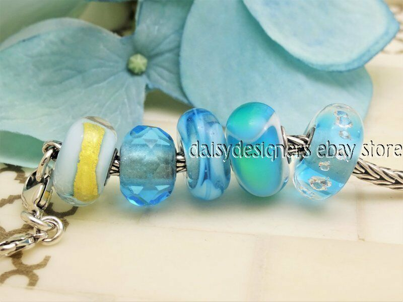 Genuine Trollbeads Turquoise Prism Ribbon Light bluee gold Ice Diamond Bead Charm