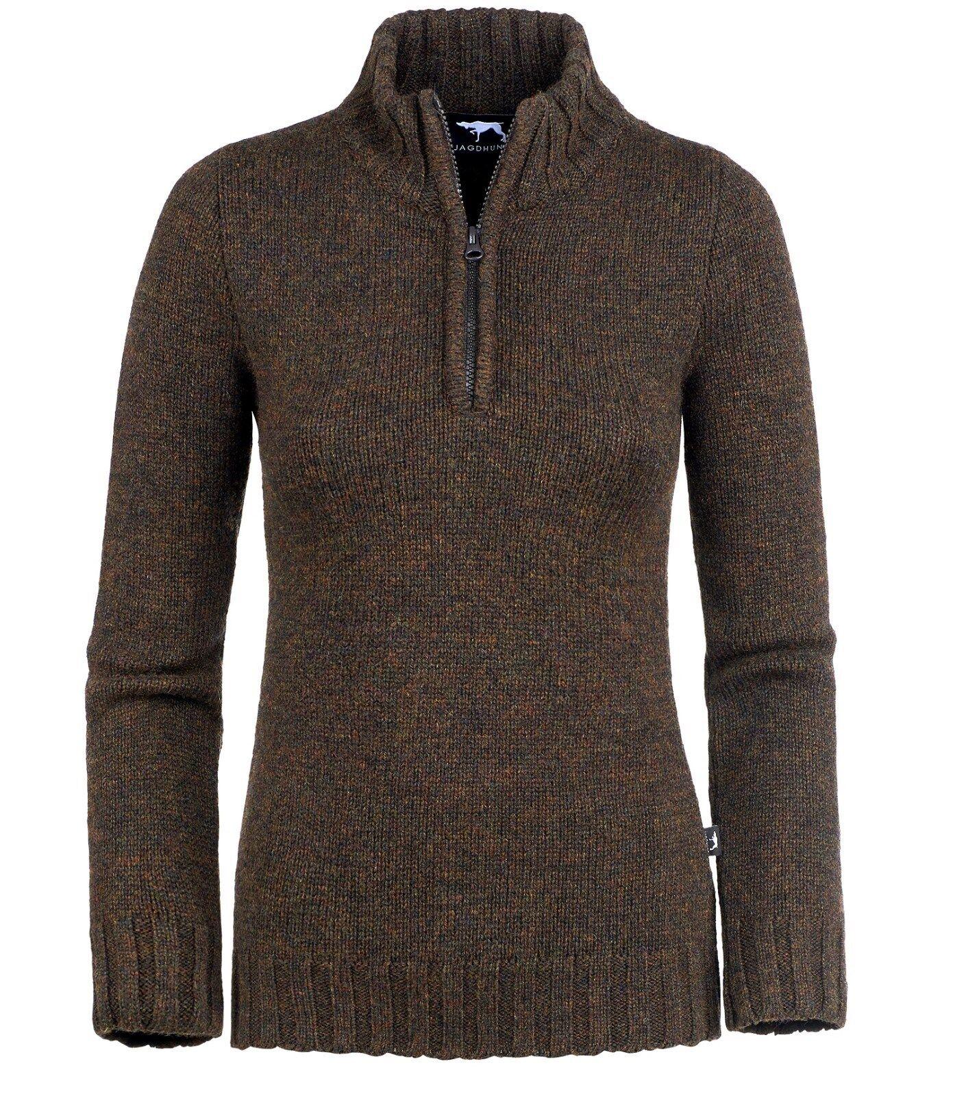 NEU     JAGDHUND Damen-Wollpullover Damen-Wollpullover Damen-Wollpullover BRIXEN - braun  - B1536 5b9e4b