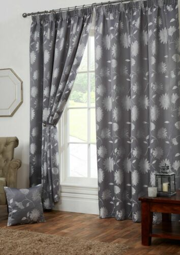 Freya Floral Design Fully Lined Pencil Pleat Tape Top Curtains /& Cushion Covers