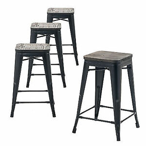 Buschman Set Of Four Matte Black Wooden Seat 24 Inches Counter