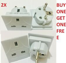 2XAll UK To EU Euro Europe European Travel Adapter Power Plug Convert 3 TO 2Pin