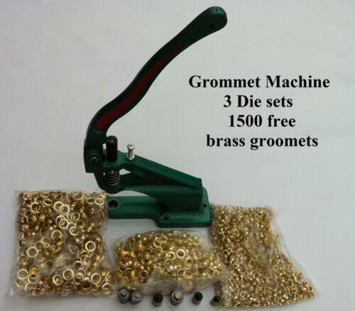 HEAVY DUTY HAND PRESS GROMMET  MACHINE  DIE #0 #2 #4 1500 Groomets Gold Free