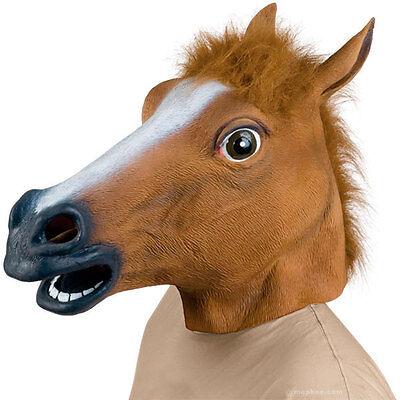 Horse Unicorn Animal Head Mask Creepy Halloween Costume Theater Prop Novelty